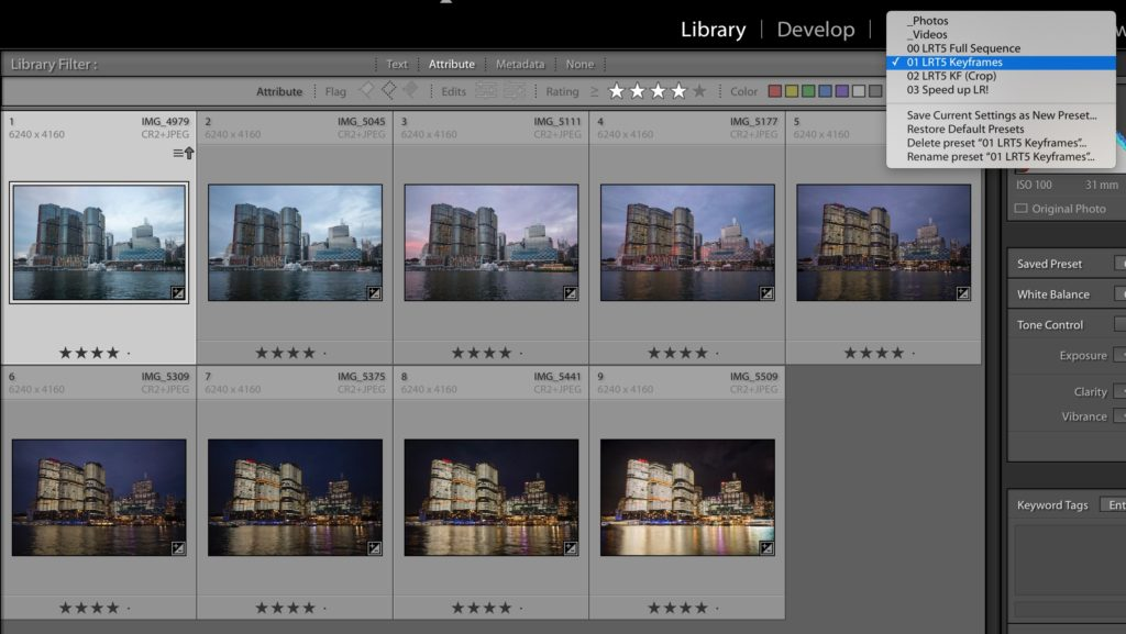 Lightroom image selection for holy grail timelapse