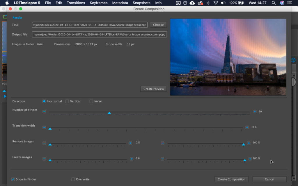 Creating a time slice photo in LRTimelapse