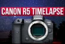 Cover for the article Canon R5 timelapse modes explained featuring the front of the camera